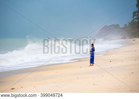 Koh Samui, Thailand - December 11, 2020. Storm On Lamai Beach On Koh Samui Island Thailand, Lonely T