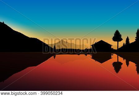 Abstract Landscape With Lake, Mountains And Cottage At Sunset - Vector Illustration