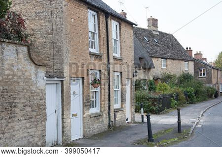Stone Cottages In Bampton, West Oxfordshire In The Uk, Taken 19th October 2020
