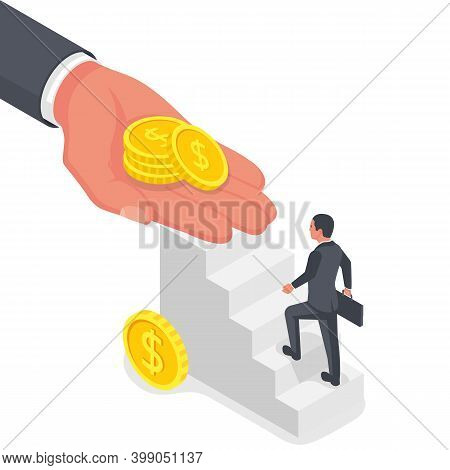 Salary Payment. The Head Pays The Employee Wages. Payroll Concept. A Man Climbs The Stairs. Vector I