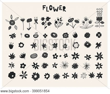 Plants Ink Rubber Stamp Graphics. Handcrafted Branches Floral. Wildflowers - Handdrawn. Set Of Silho