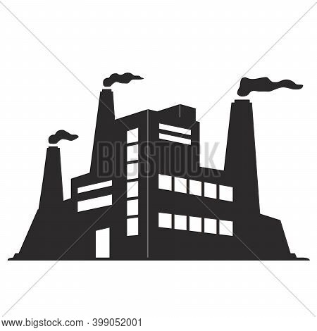 Black Silhouette Of A Factory. The Facade Of An Industrial Building With Smoking Chimneys.