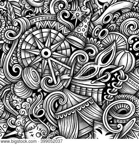 Amusement Park Vector Hand Drawn Doodles Seamless Pattern. Funpark Graphics Background Design. Funfa