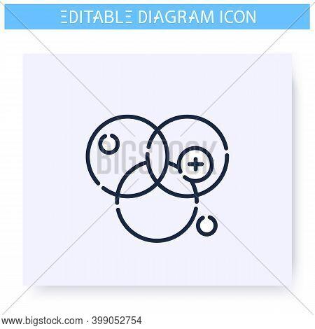 Venn Diagram Line Icon. Circle Chart. Business, Management, Structure Visualisation. Infographic, Pr