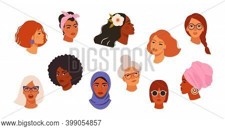 Portraits Of Beautiful Women Of Different Skin Color, Age, Hairstyle, Face Types. Avatars Of Diverse