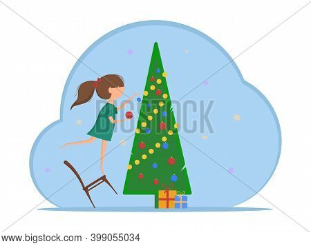 A Girl In A Home Dress Standing On A Swinging Chair Decorates The Christmas Tree With Bright Balls A