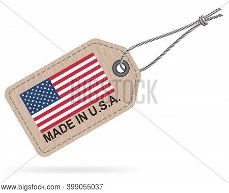 Made In Usa Tag Label Isolated On White, 3d Vector Illustration