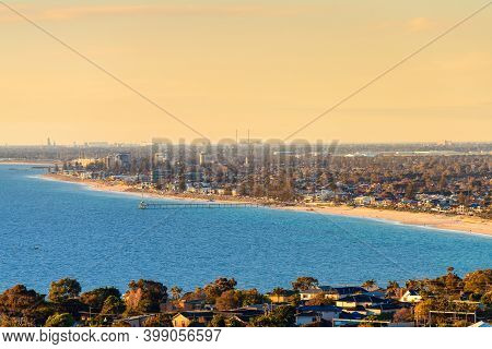 Brighton Beach With Jetty Viewed From The Hill At Sunset, South Australia