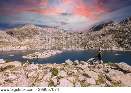 The Beautiful Lake Of Covadonga In Asturias, A Beautiful Spring Sunset, Picos De Europa. Spain