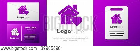 Logotype House With Heart Shape Icon Isolated On White Background. Love Home Symbol. Family, Real Es