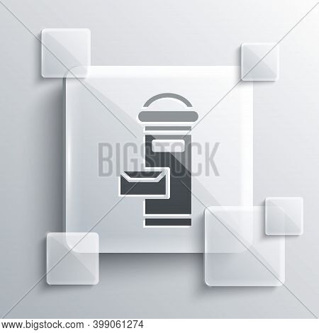 Grey Traditional London Mail Box Icon Isolated On Grey Background. England Mailbox Icon. Mail Postbo