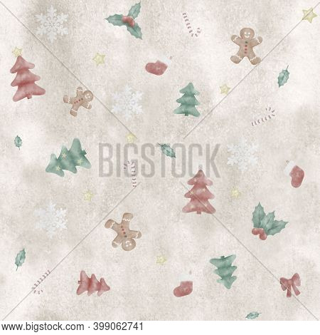 Cute Handpainted Seamless Repetitive Christmas Pattern, With Tree, Gingerbread Man And Candy Cane On
