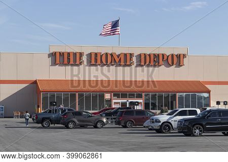 Greenfield - Circa December 2020: Home Depot Location Flying The American Flag. Home Depot Is The La