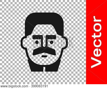 Black Portrait Of Joseph Stalin Icon Isolated On Transparent Background. Vector