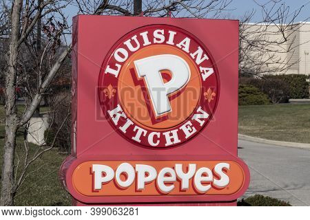 Greenfield - Circa December 2020: Popeyes Louisiana Kitchen Fast Food Restaurant. Popeyes Is Known F