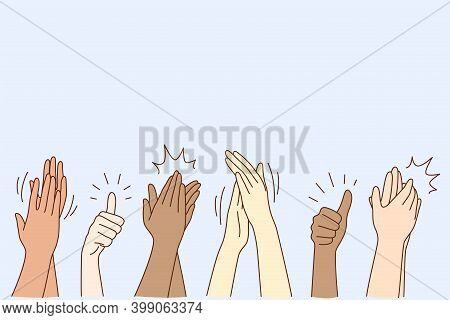Cheering, Ovation, Applauding Concept. Hands Of Various People Male Or Female Showing Thumbs Up, App