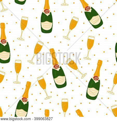 2021 New Year Celebration Vector Pattern With Champagne Bottles Wearing Face Masks, Flutes , Confett