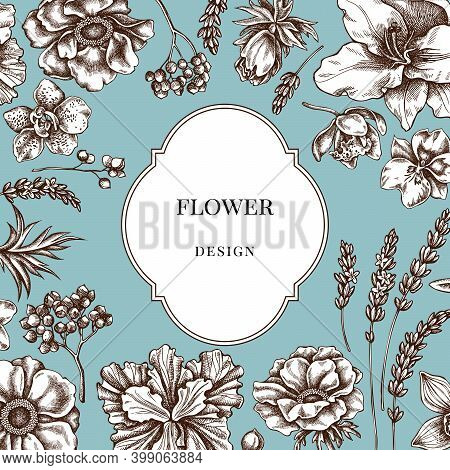 Badge Over Design With Anemone, Lavender, Rosemary Everlasting, Phalaenopsis, Lily, Iris Stock Illus