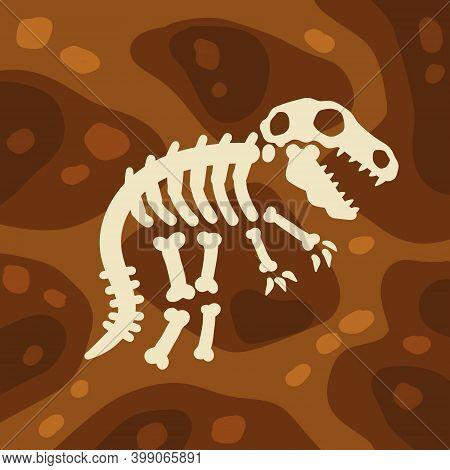 Dinosaur Skeleton. Bones Of A Prehistoric Lizard. Archeology And Excavations. Cartoon Dino Illustrat