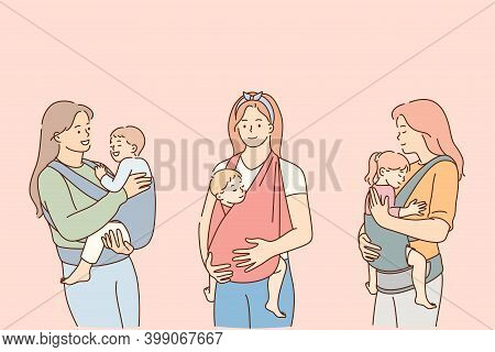 Mothers Carrying Their Kids In Slings Lifestyle Concept. Positive Young Women Mothers Carrying Their