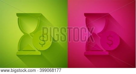 Paper Cut Hourglass With Dollar Icon Isolated On Green And Pink Background. Money Time. Sandglass An