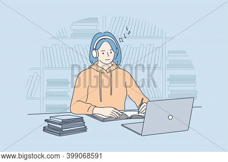 Using Gadgets, Listening To Music During E-learning Concept. Smiling Teen Girl College Student With