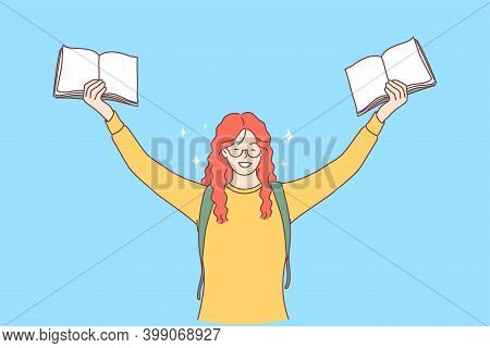 Excellent Pupil, Student, Studying Concept. Portrait Of Red Haired Cheerful Happy Girl With Books In