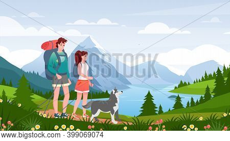 Cartoon Flat Happy Traveler Woman Man Couple And Pet Friend Walk Path, Hiker People And Dog Enjoy Na