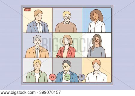 Online Conference, Live Streaming Of Multiethnic Group Concept. Group Of People Business Parters Hav