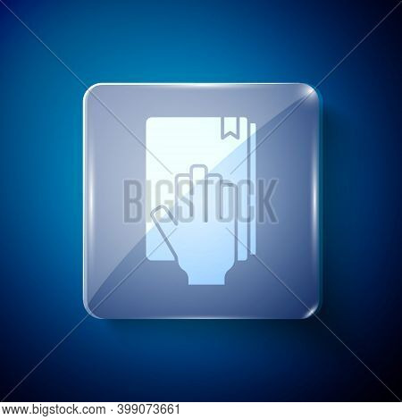 White Oath On The Holy Bible Icon Isolated On Blue Background. The Procedure In Court. Truth And Tru