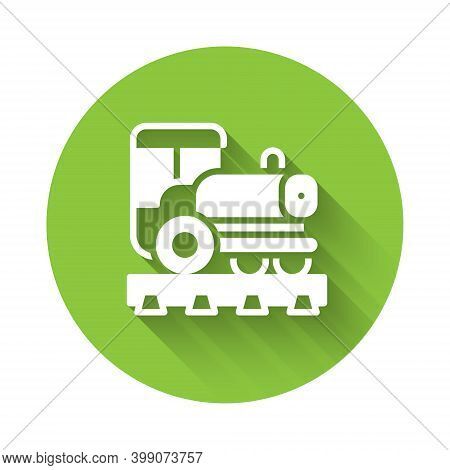 White Vintage Locomotive Icon Isolated With Long Shadow. Steam Locomotive. Green Circle Button. Vect
