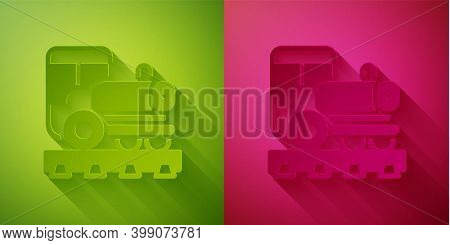 Paper Cut Vintage Locomotive Icon Isolated On Green And Pink Background. Steam Locomotive. Paper Art
