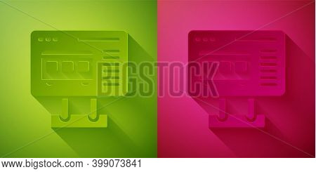 Paper Cut Ticket Office To Buy Tickets For Train Or Plane Icon Isolated On Green And Pink Background