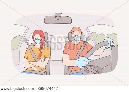 Traveling, Using Taxi, Wearing Face Mask During Covid-19 Pandemic. Young Sad Unhappy Couple Cartoon