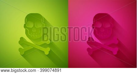 Paper Cut Skull On Crossbones Icon Isolated On Green And Pink Background. Happy Halloween Party. Pap