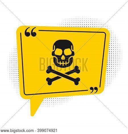 Black Skull On Crossbones Icon Isolated On White Background. Happy Halloween Party. Yellow Speech Bu