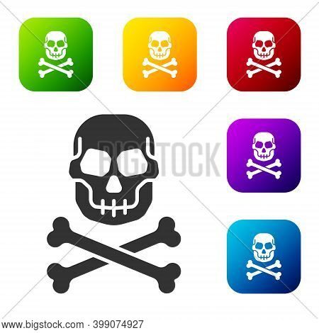 Black Skull On Crossbones Icon Isolated On White Background. Happy Halloween Party. Set Icons In Col