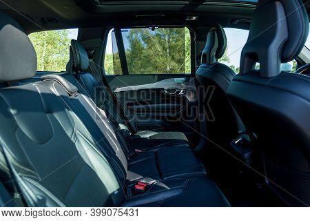 Premium Car Interior In Black Leather Stitched With White Thread