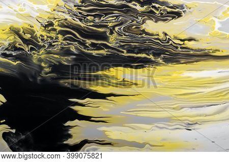 Trending Colors Of 2021. Gray, Yellow And Black Waves Flow. Marble Effect Background Or Texture. Flu