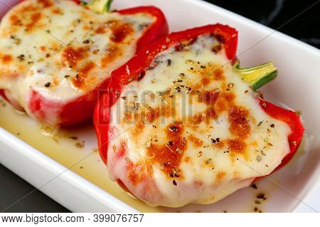 Closeup Of Fresh Cooked Mouthwatering Homemade Stuffed Bell Peppers