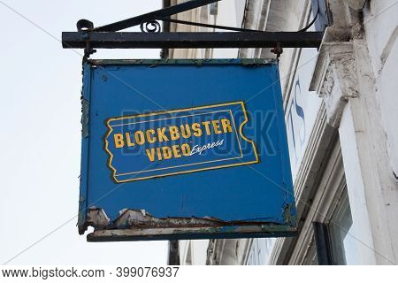 A Blockbuster Video Sign In Faringdon Oxfordshire In The Uk, Taken 19th October 2020
