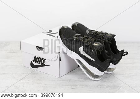 Burgas, Bulgaria - December 8, 2020: Nike Air Max 270 React Women's Shoes - Sneakers In Black, On Wh