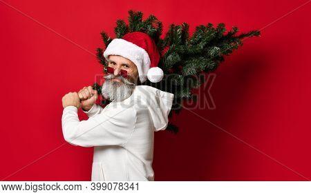 Christmas, New Year, Holidays. Santa Man Carrying A Christmas Tree. Christmas Decor Concept. A Fashi