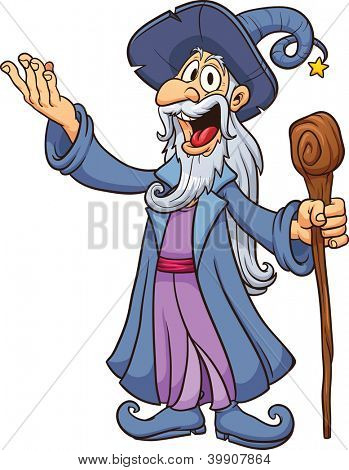Happy cartoon wizard. Vector clip art illustration with simple gradients. All in a single layer.