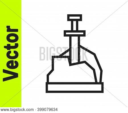 Black Line Sword In The Stone Icon Isolated On White Background. Excalibur The Sword In The Stone Fr