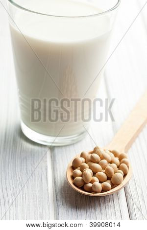 soy beans and soymilk on table