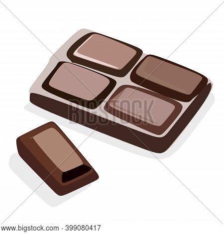 World Chocolate Day. Chocolate Bar. Realistic Dark Chocolate Bar Bitten Into Pieces On A White Backg