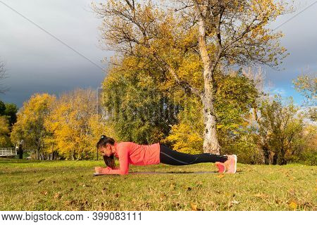 Sporty Dressed Woman Doing The Plank On A Mat In The Park
