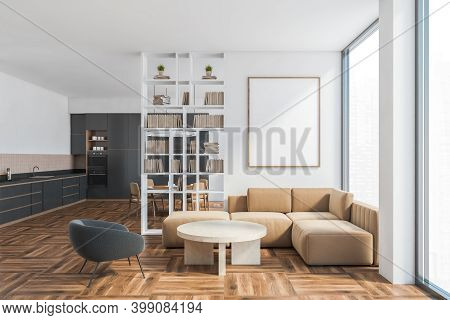 Mockup Canvas In Living Room In Studio Apartment With Beige Sofa And Black Kitchen Set On Background