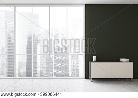Black And White Chest Of Drawers On Marble Floor In Home Interior. Modern Commode Near Large Windows